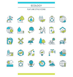 flat line design ecology icons vector image