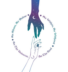 hand of universe reaching out to human hand vector image vector image