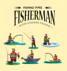 Set of cartoon fisherman catches fish sitting boat vector
