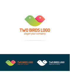 two birds logo set flat modern color style vector image vector image