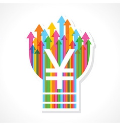 Yen symbol on colorful arrow bulb stock vector image vector image
