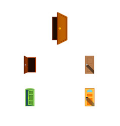 flat icon approach set of exit entrance frame vector image