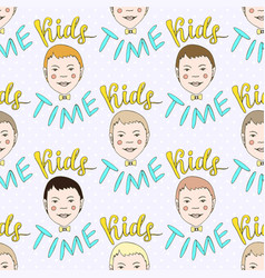 hand drawn seamless pattern with kids and vector image vector image