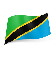 national flag of tanzania diagonal yellow vector image vector image