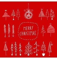 Set of hand drawn Christmas trees vector image