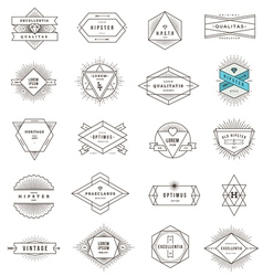 Set of hipster line emblems and signs vector image vector image