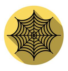 spider on web flat black vector image vector image