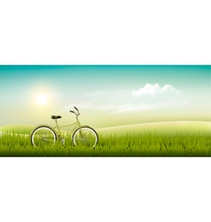 Summer meadow landscape with a bicycle vector image