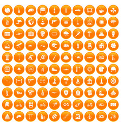 100 helmet icons set orange vector