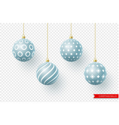 3d christmas yellow balls with geometric pattern vector image