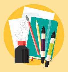 art sketch with ink and markers flat icon vector image