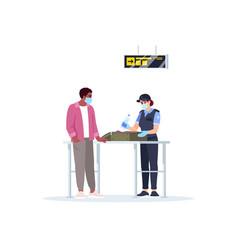 Baggage claim check semi flat rgb color vector