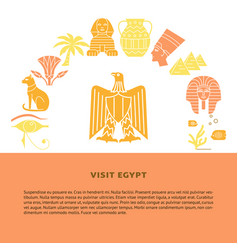 banner with national egypt symbols in flat style vector image