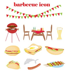 Barbecue Party - set of icons vector image