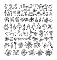 big bundle of winter doodles vector image