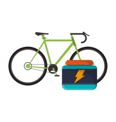 bike and protein supplement icon vector image