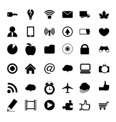 black universal web icons vector image