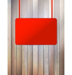 Blank red signboard on aged wooden wall eps10 vector