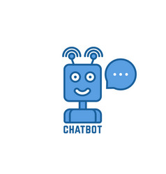blue linear chatbot logo with bubble vector image