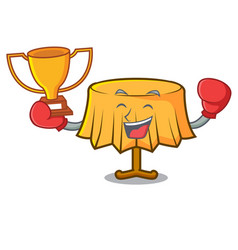 Boxing winner table cloth mascot cartoon vector