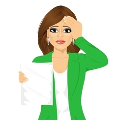 Businesswoman disappointed about test results vector