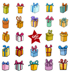 Cartoon christmas holiday presents big set vector