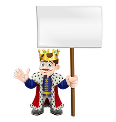 cartoon king holding a sign vector image