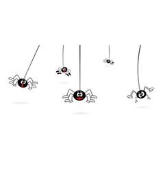 Cartoon spiders hanging on web spider vector