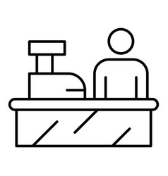 Cashier work place icon outline style vector