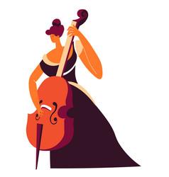 cello player with violoncello classic music vector image
