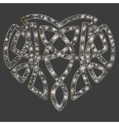 Celtic heart intertwine knot ethnic symbol vector