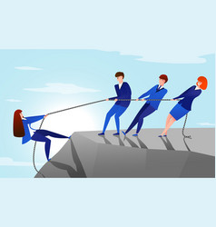 colleagues pull rope teamwork concept with vector image