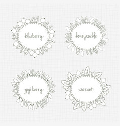 Collection of frames with berries and leaves vector