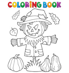 Coloring book scarecrow topic 1 vector