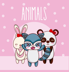 cute animals friends cartoon vector image