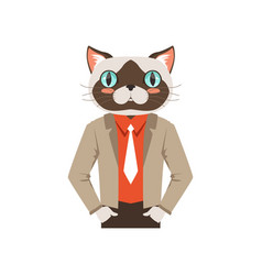 Cute fashion cat guy character hipster animal vector
