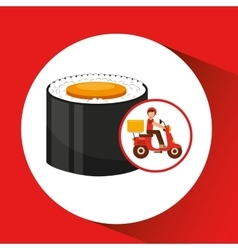 delivery boy ride motorcycle maki sushi vector image