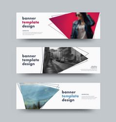 design of white horizontal web banners with with vector image