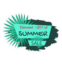 Discount 25 off summer sale emblem with palm tree vector