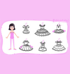 dress up colored paper doll vector image