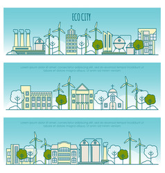 Ecology city banners template with thin vector