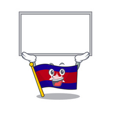 Flag cambodia cartoon with in up board character vector