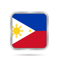 flag of philippines metallic gray square button vector image