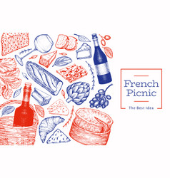 French food design template hand drawn picnic vector