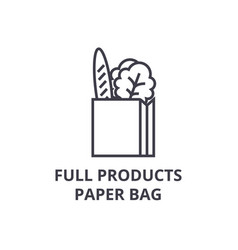 full products paper bag line icon outline sign vector image