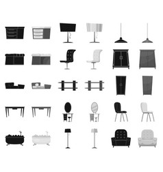Furniture and interior blackmonochrome icons in vector