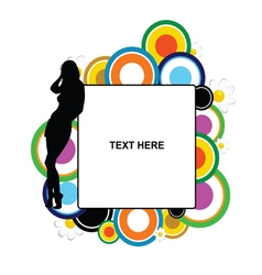 girl silhouette with banner and circle vector image
