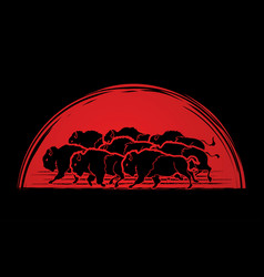 Group of buffalo running graphic vector