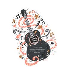 Guitar country music vector