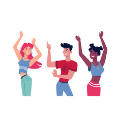 Guy dancing with girls at party or music club vector